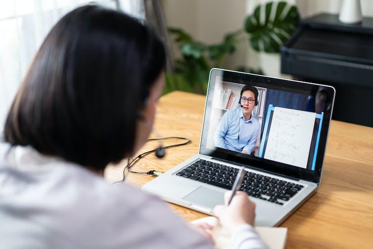 A learner attending online class.