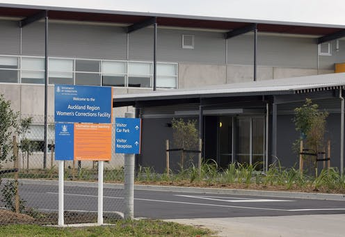 Exterior of prison with signs reading Auckland Women's Correction Facility