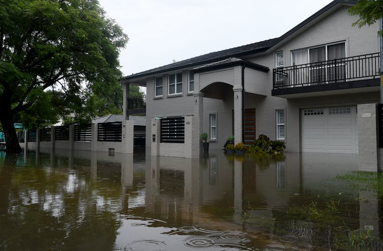 A house is flooded.
