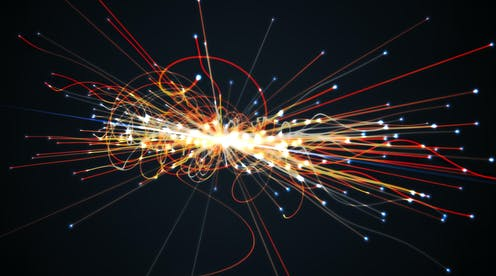Artist's impression of particle reaction.