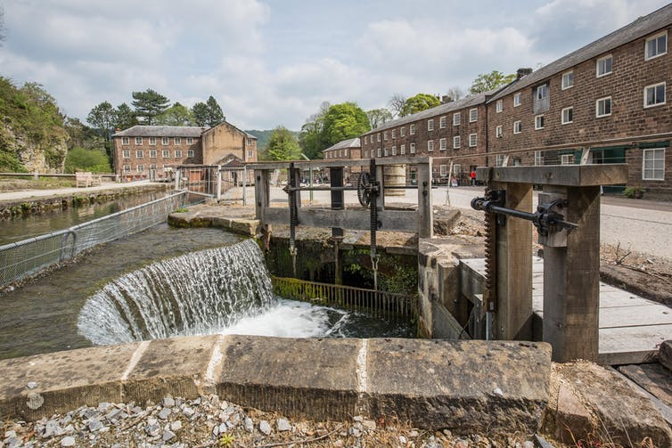 Waterways at Arkwright's Mill, Cromford, Derbyshire.