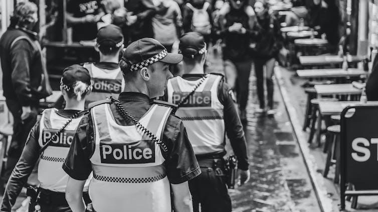 Police on patrol in Melbourne.