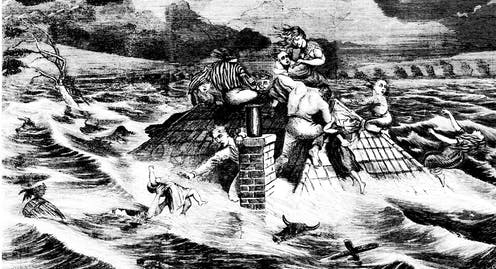 Etching of a family battling the 1867 flood in the Hawkesbury-Nepean Valley