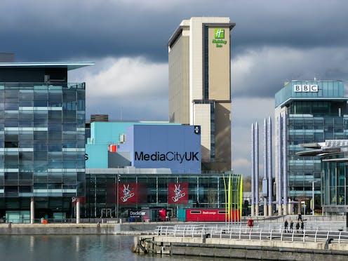 BBC Studios and Holiday Inn Hotel, MediaCityUK, Salford Quays, Salford, Manchester, England, UK