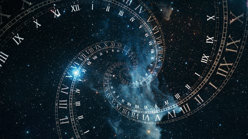 A picture of space with a a spiral of Roman clocks in front of it.