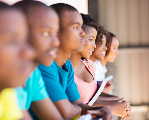 row of Black university students