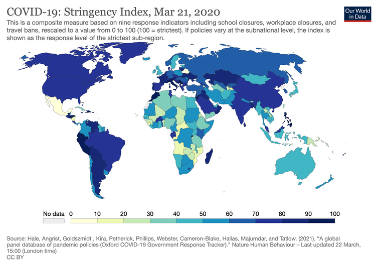A map showing the relative strictness of COVID-19 measures in each country in March 2020.