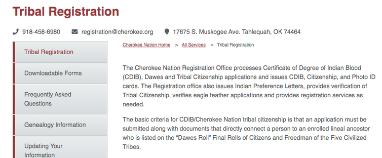 Information from the Cherokee Nation on how to register as a tribal citizen.
