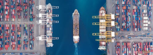 Aerial view of ships in a port