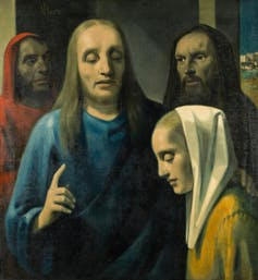 Painting. Jesus talks to a woman.