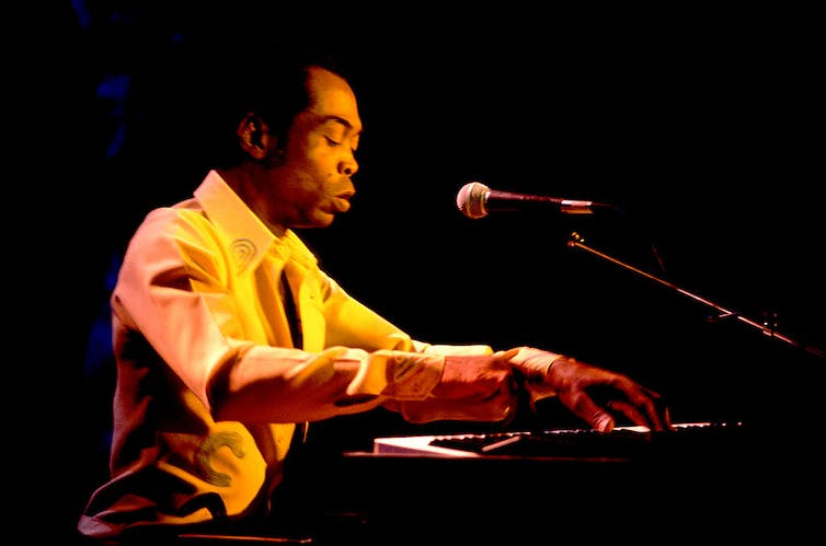 Nigerian musician Fela Kuti performs in Chicago in the US. Paul Natkin/Getty Images