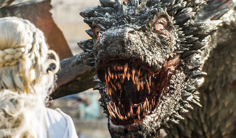 Still of dragon's face from Game of Thrones