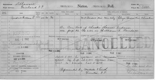 A 1904 Cherokee Census card