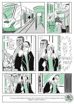 A comic strip illustrating misogynistic behaviour on public transport