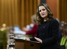 Chrystia Freeland gestures while speaking in the House of Commons