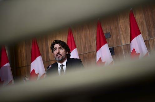 Justin Trudeau at a press conference