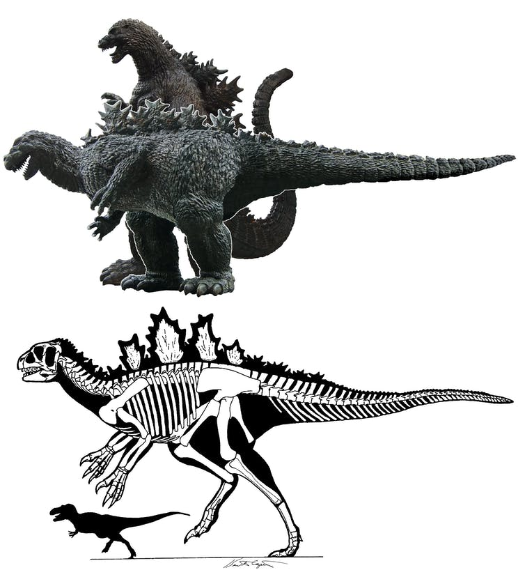 A comparison between an upright Godzilla and a horizontal Godzilla.