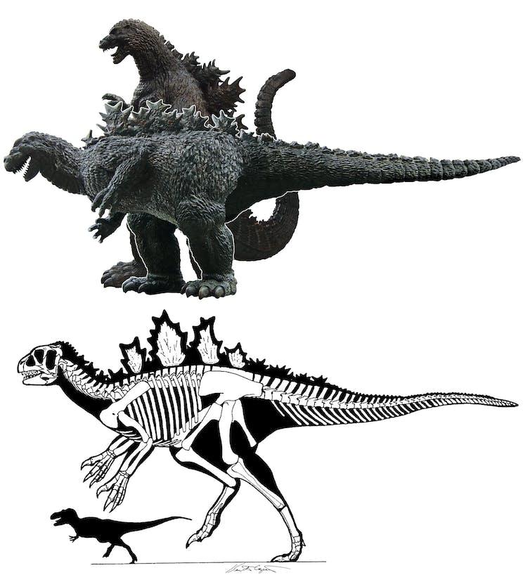 Una comparación entre un Godzilla vertical y un Godzilla horizontal.