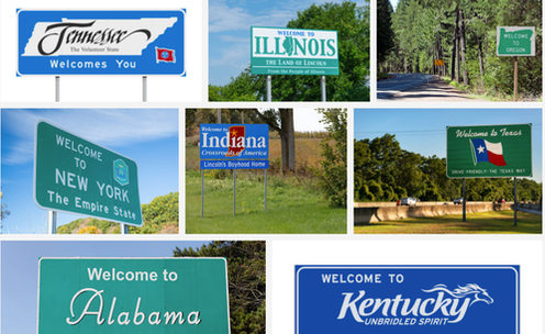 A collection of state welcome signs