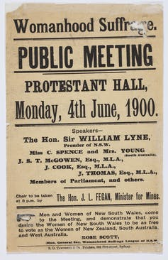 Pamphlet reads: 'Womanhood suffrage. Public meeting. Protestant hall, Monday, 4th June, 1990.'