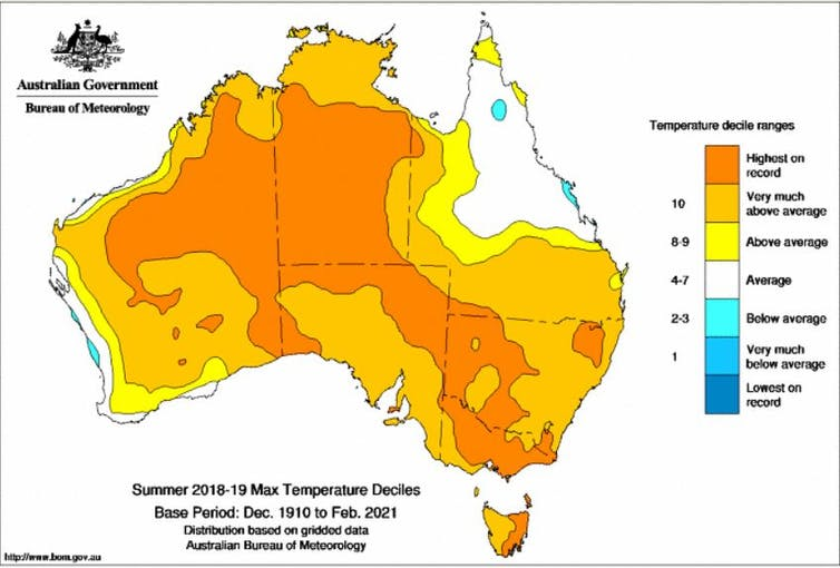 Map showing extreme temperature in NT