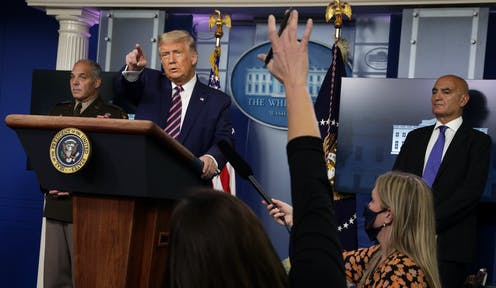 Donald Trump at a White House press conference