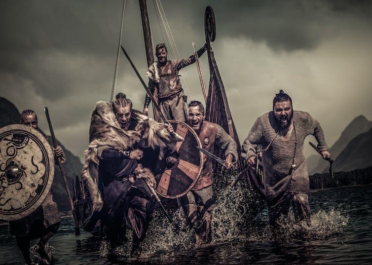Guerriers Vikings à l'attaque.