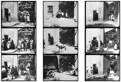 Fotogramas de tres versiones de la película _Salida de los obreros de la fábrica Lumière_, rodadas por los hermanos Lumiere en 1895 y 1996. Wikimedia Commons / Manuel Schmalstieg