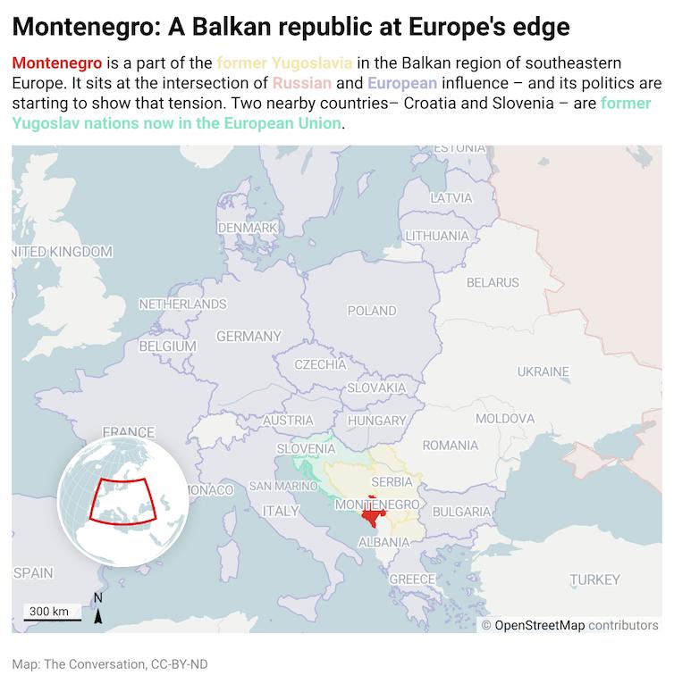 A map of Europe highlighting Montenegro
