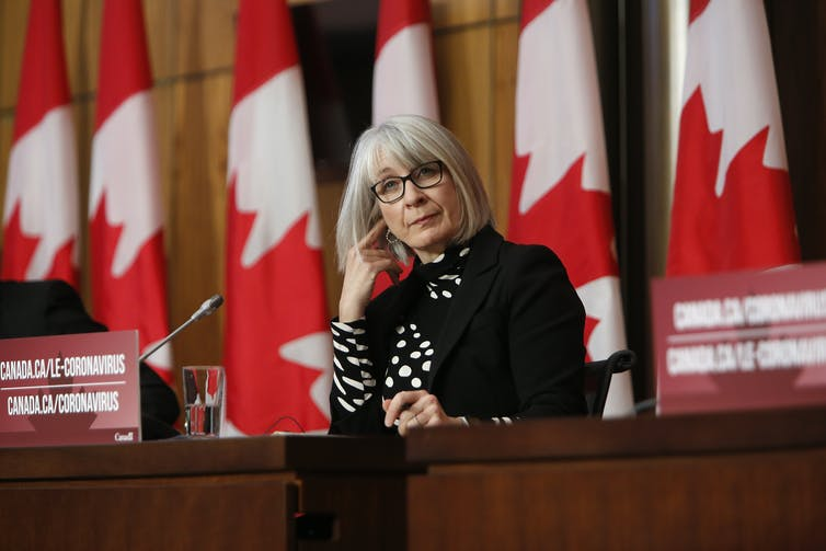 Patty Hajdu sits at a desk with Canadian flags behind her.