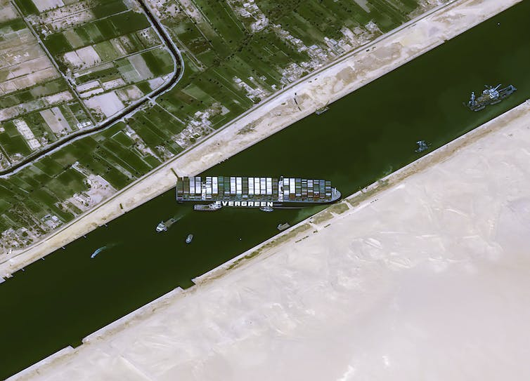The MV Ever Given has completely blocked the Suez Canal. Cnes2021 / Distribution Airbus DS