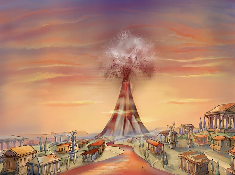 An illustration of the volcano Vesuvius erupting with small buildings in the foreground.