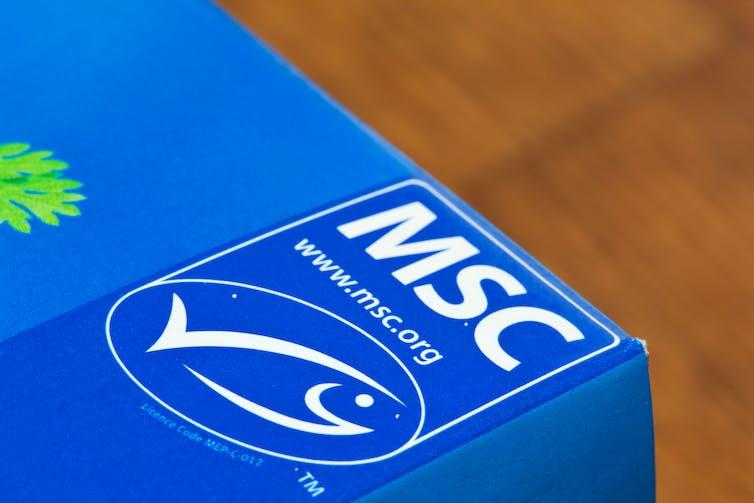 A blue box depicting the Marine Stewardship Council's Blue Tick ecolabel.