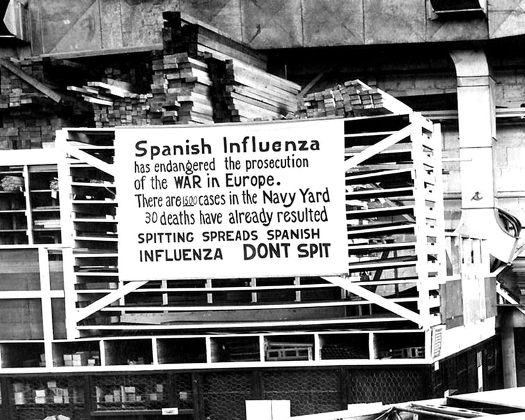 Sign in a navy yard about the Spanish Flu.