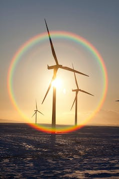 Wind turbines in the sunset.