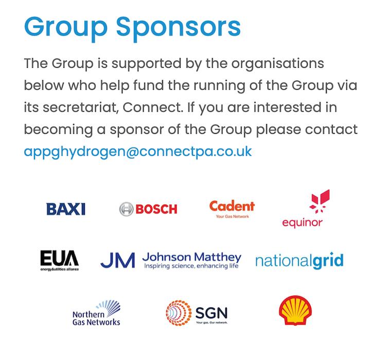 Logos of Hydrogen APPG sponsors