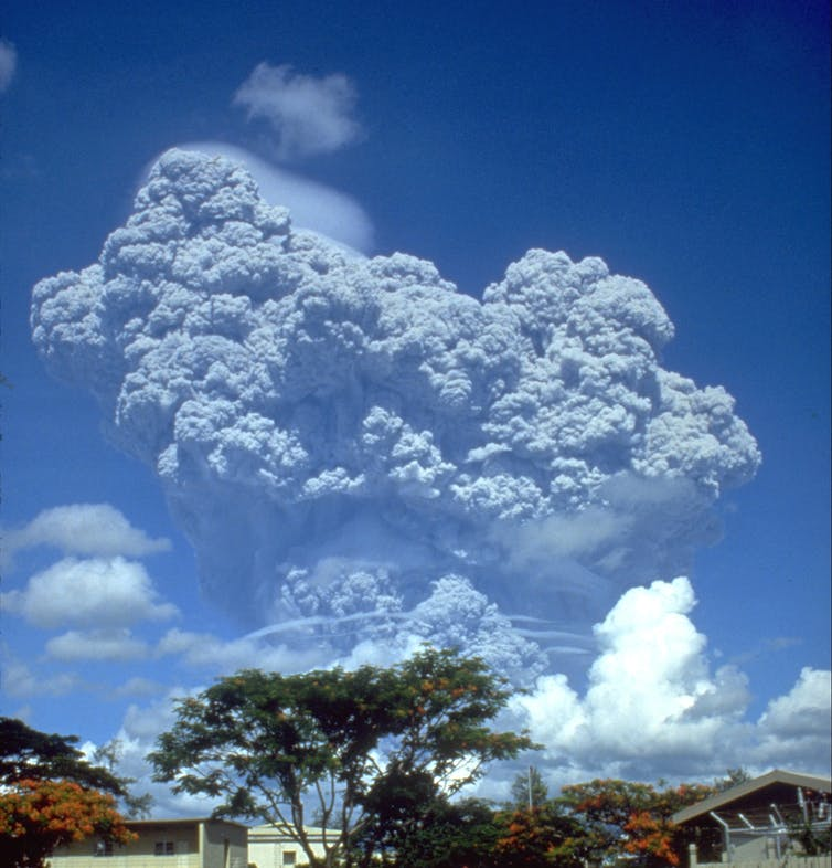 Volcanic cloud over Clark Air Base, Philippines.