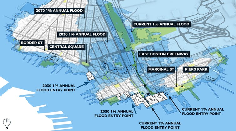Map of South Boston showing flood risk