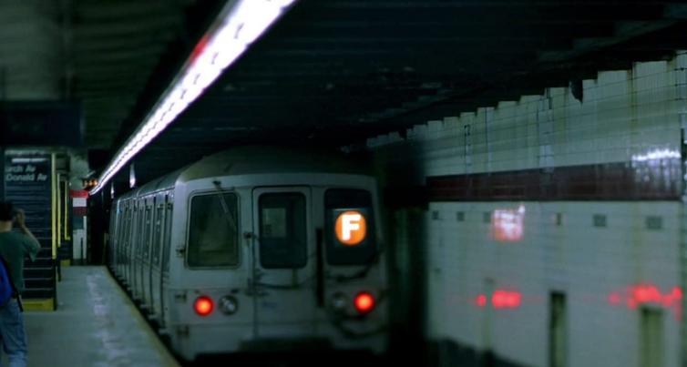 F train in New York subway