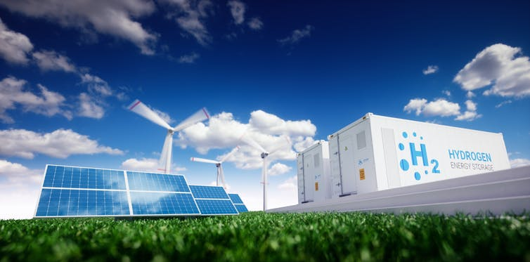 solar panels, wind turbine, H2 storage