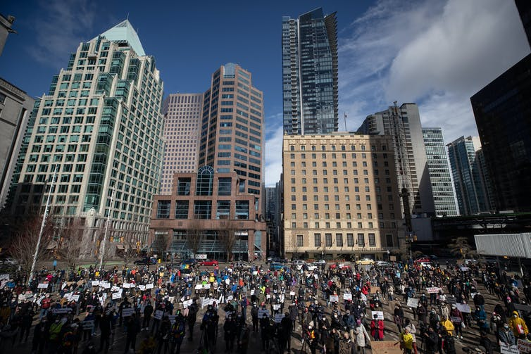 Group of protesters gather in Vancouver