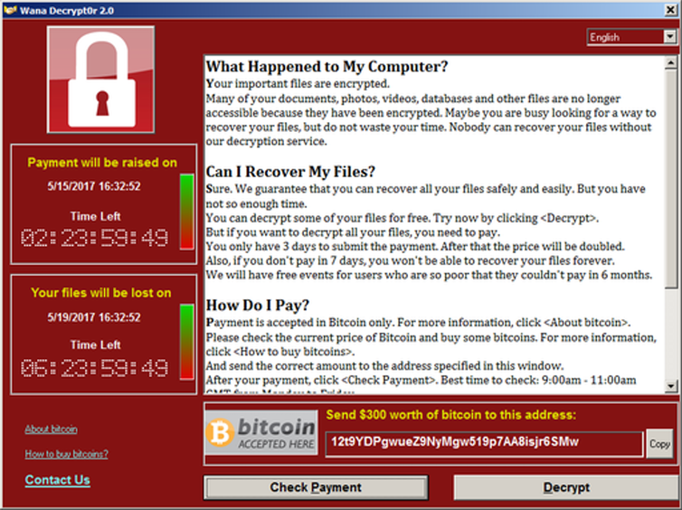 Screenshot of WannaCry ransom demand.