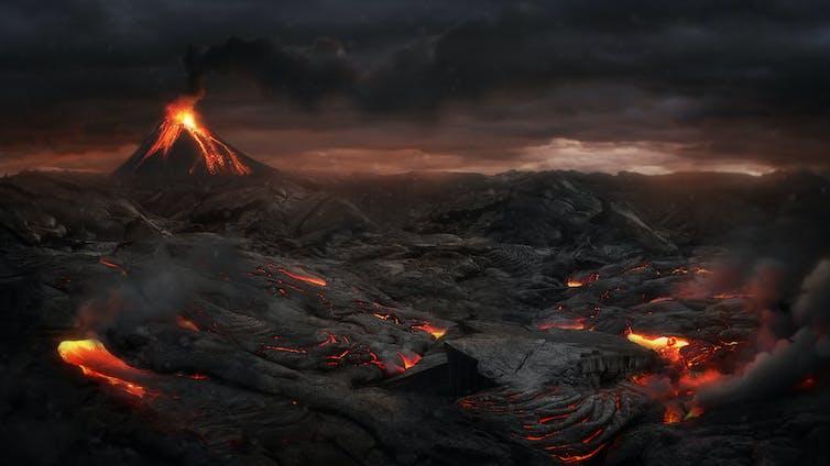 An artist's rendition of a post-volcanic eruption landscape