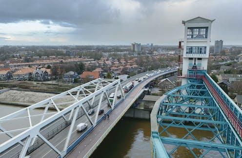 The Hollandse IJssel storm surge barrier and Algera Bridge.
