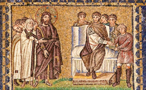 Mosaic showing Pilate washing his hands.