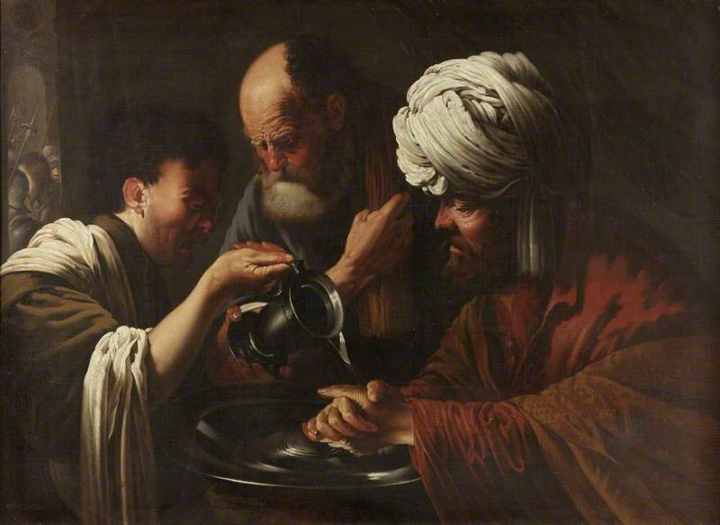 17th-century painting of Pilate washing his hands.