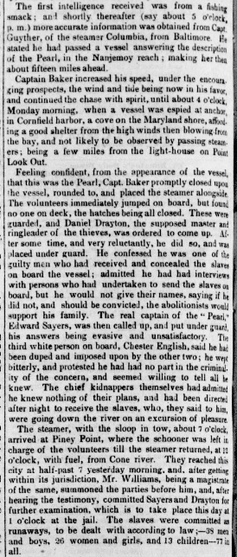 4 paragraphs from an 1848 newspaper account of the capture of the Pearl.