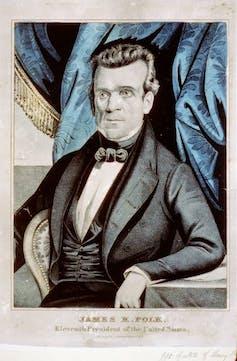 A portrait of President James K. Polk in fancy dress.