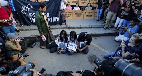 Myanmar activists protest the jailing of two Reuters journalists in in Yangon, Myanmar, September 16 2018.