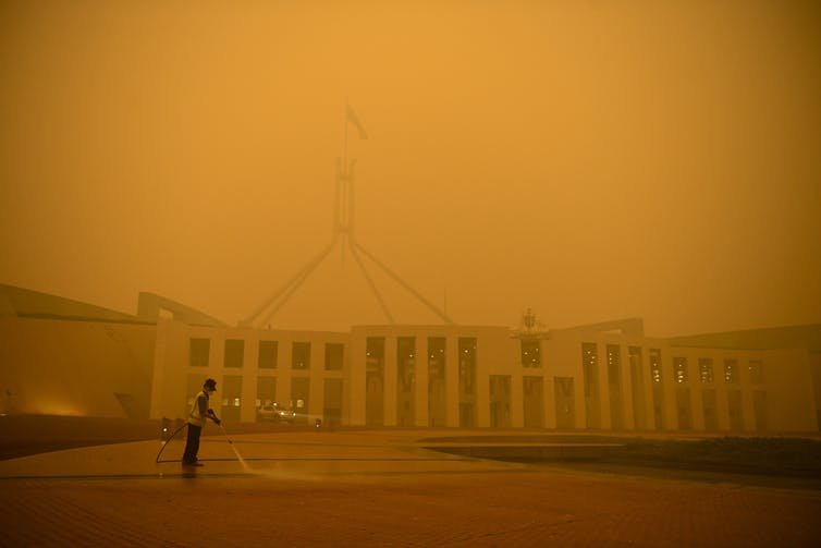 Smoke shrouds Parliament House